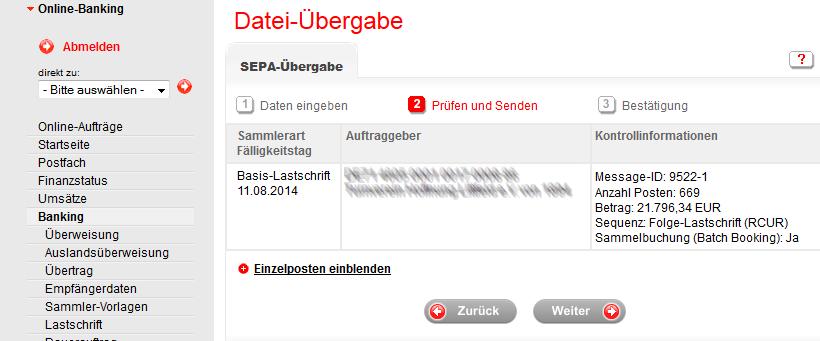 Hochladen Von Sepa Dateien Uber Online Banking Der Sparkasse Online Hilfe S Verein